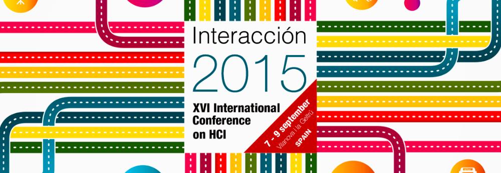 Logo of the 16th International Conference on HCI, Interacción 2015, held in Villanueva y Geltrú (Spain).