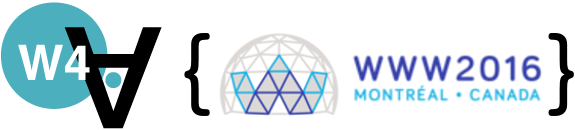 Logo of the 2016 Web for All Conference, held in Montreal (Canada).
