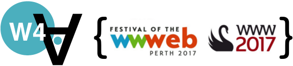 Logo of the 2017 Web for All Conference, held in Perth (Western Australia).