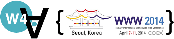 Logo of the 2014 Web for All Conference, held in Seoul (South Korea).