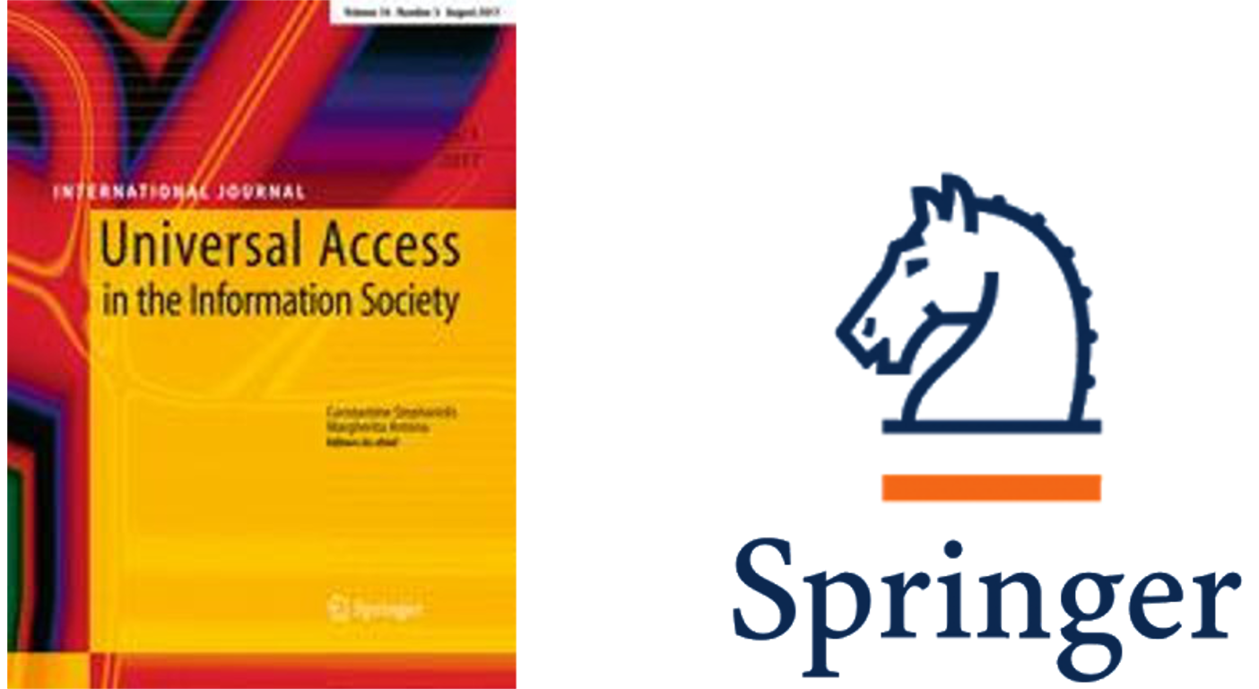 Front page of the international journal Universal Access in the Information Society, and logo of the Springer publishing house.