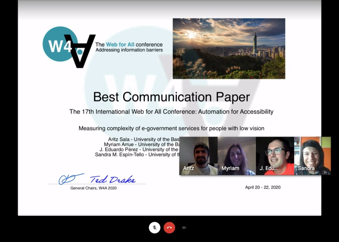 The four authors of the award-winning paper virtually celebrating via videoconference the certificate reception.
